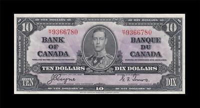 1937 BANK OF CANADA KGVI $10 **Coyne & Towers** (( EF ))
