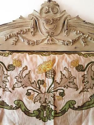Stunning Rare Antique French Art-Nouveau Crewelwork Embroidered Pelmet Textile