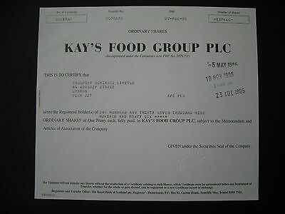 Kay`s Food Group Plc 137.946 (!) Stammaktien 1995