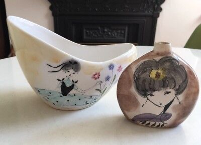 Vintage Ceramica Di Milano Italy Hand Painted Lady Motifs