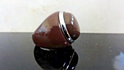 Vtg  French Art Deco Lucite & Silver Tone Metal Chocolate Cabochon Head Ring