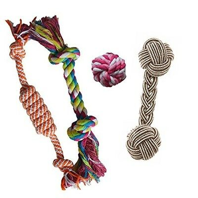 Puppy Chew Teething Rope Play Toys Set Mini Dental Pack For Small To Medium Dogs