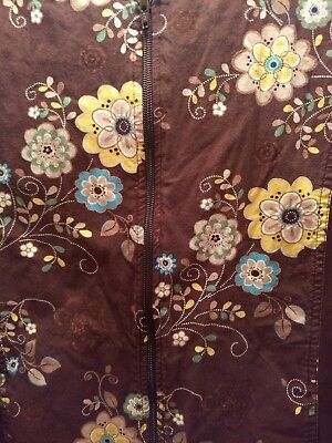 Cherokee_Flexibles_Brown Floral Zip Front Warm Up Scrub Jacket_Style 2315C_M