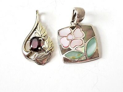 Pair of Vintage Sterling Silver Floral Pendants, Shell,Red Stone, Estate Jewelry