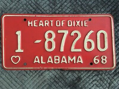 Vintage 1968 Heart of Dixie License Plate