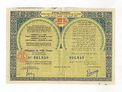 MAROKKO – Empire Chérifien – 4% Obligation, 1000 Francs, RABAT, 29. März 1952