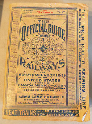 VINTAGE 1950 Official Guide of the Railways & Steam Navigation Lines TRAIN BOOK