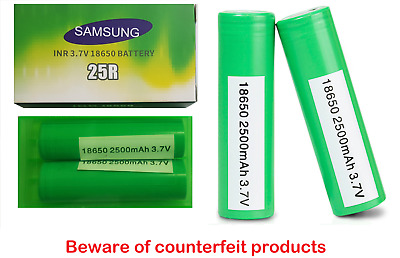 100% Original SAMSUNG 25R 18650 2500mAh 35A INR 3.7V Rechargeable Vape Batteries