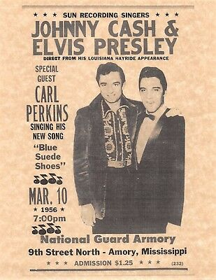 Sun Recording Johnny Cash & Elvis Presley March 10 1956 > Poster/Print Replica