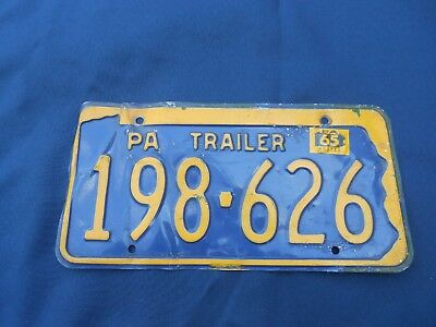 Vintage 1965 Trailer Pennsylvania License Plate, Blue with gold Letters,