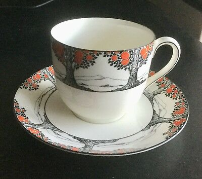 Crown Ducal Orange Tree Very Rare Straight Sided Larger Cappuccino Cup & Saucer