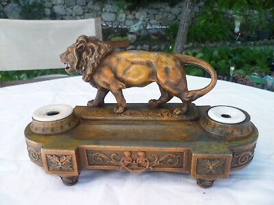 "Encrier ""lion"" Napoleon Iii En Regule Patine Bronze Collector"