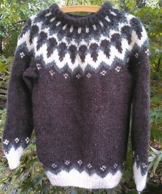 """Cosy Icelandic Lopi style wool pullover jumper in brown/grey/cream, 36"""" chest"""