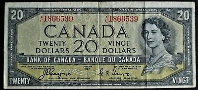 1954 Bank of Canada $20 'Devil's Face' Coyne-Towers A/E