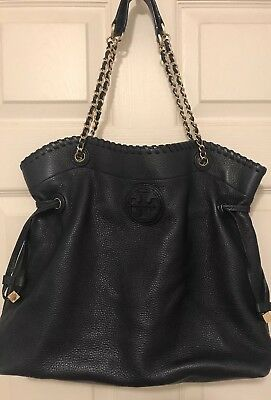 0ef35993d1426 Tory Burch Navy Blue Pebbled Leather Marion NS Slouchy Tote Bag Purse   Crossbody