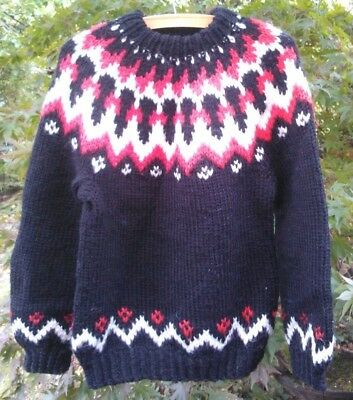 """Cosy Icelandic Lopi style wool pullover jumper in black, red + white, 36"""" chest"""