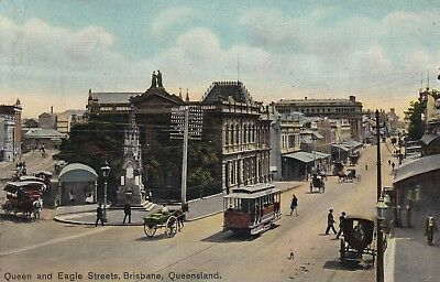 Australia: Queensland, Queen & Eagle Streets & Tram Postcard, Posted 1909