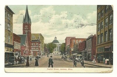 1908 Jackson Mississippi Street Scene - West Jackson Station Flag Cancel
