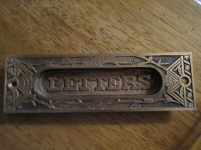 Ornate  Antique Salvage    100%  Brass Letter/mail Slot For Door