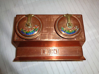 Superb Arts & Crafts Enamel On Copper Double Inkwell, Liberty & Co.?, Circa 1900