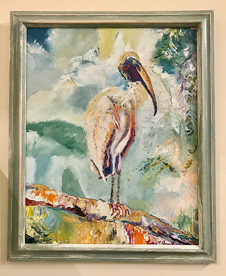 "Rare Wood Stork Bird on Branch 16""x20"" Original Oil Painting Framed Wood Frame"