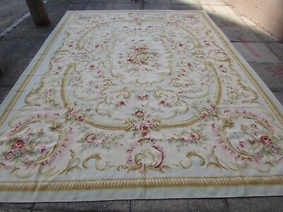 Old Hand Made Traditional French Design Wool Blue Original Aubusson 370X270cm