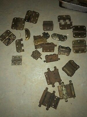 Huge Lot of Vtg Antique Door Hinges Parts Salvage Hardware Spring Heavy Duty