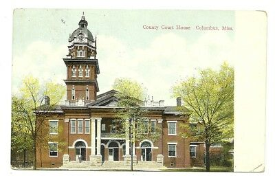 1914 Columbus Mississippi View Of The County Court House - Mattox Card