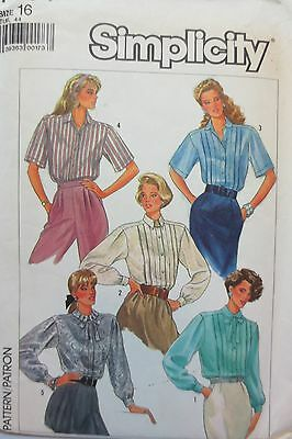 Vintage 1986 Simplicity 7854  sewing pattern misses blouse, size 16