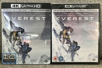 EVEREST 4K UHD + blu ray + DIGITAL HD [U.K.] w/EXCLUSIVE SLIPCOVER NEW MINT!