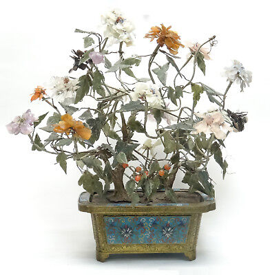 """LARGE ANTIQUE QING CHINESE CLOISONNE PLANTER WITH JADE FLOWER TREE 20""""x17"""" H max"""