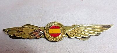 Vintage Iberia Airlines Pilot Crew Wings Pin Badge Brass Metal Spainish Madrid