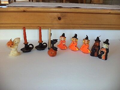 Vintage Gurley Halloween Candles Witch Ghost Cat Poor To Fair Condition