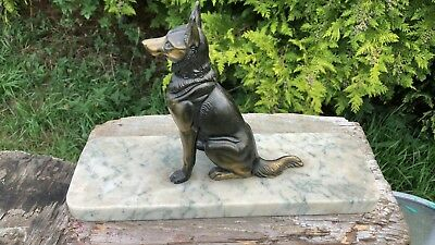 Beautiful Vintage Art Deco French Spelter Dog German Shepherd Dog On Marble Base