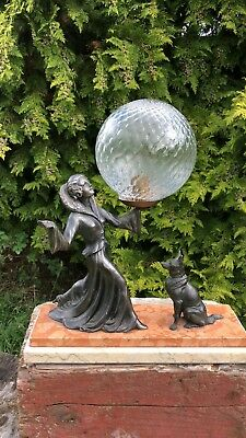 Beautiful Vintage Art Deco French Spelter Lady and Dog Table Lamp Light *
