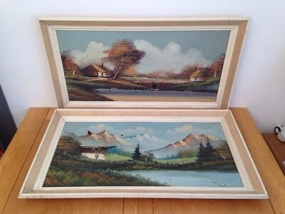 Pair of Original Oil On Canvas Alpine Scene - Vintage Condition / Signed Framed
