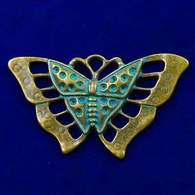 Carved Brass Bronze Butterfly Pendant Bead 56x34x3mm L90907