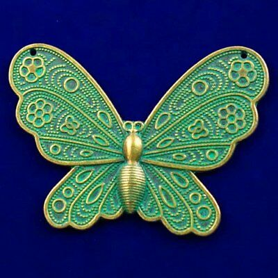 Carved Brass Bronze Butterfly Pendant Bead 61x42x3mm L89588
