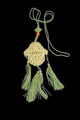 Chinese Carved Light Green Jade Pierced Seamed Together Pendant Tassels