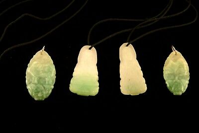 Vintage Four Chinese Carved Green Jade Pendants