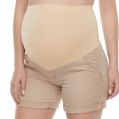 A Glow Maternity Full Panel Cuffed Casual Short Shorts Khaki Women's Size 12