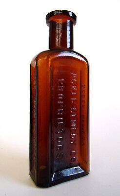 Amber BIM Old Bottle - ACKER REMEDY CO. PROPRIETORS - FOR THROAT & LUNGS