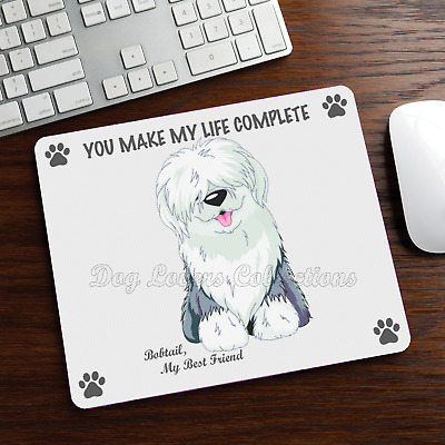 OLD ENGLISH SHEEPDOG MOUSE PAD Rubber Mat OES Dog Portrait Art Memorial Gifts