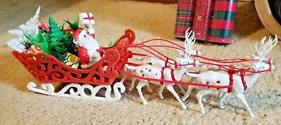Vintage Santa in Flocked Sleigh & Gifts W/ 4 Soft Plastic Reindeer Centerpiece