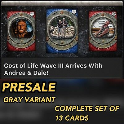 COST OF LIFE WAVE 3 GRAY VARIANT PRESALE SET OF 13 Topps Walking Dead Digital