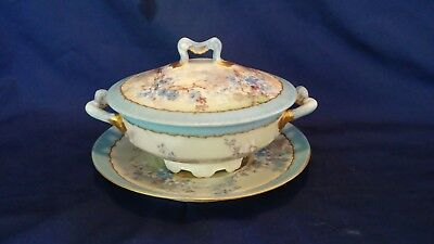 Vintage Antique Limoges Hand-Painted Cream Soup Bowl w/Lid and Underplate