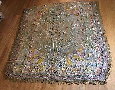Rare Vintage 8'X8' Silk Piano Shawl W/ Middle East Scene Camels Palms Beautiful