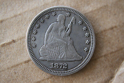 1872 Seated Liberty quarter 25c scarce date excellent condition