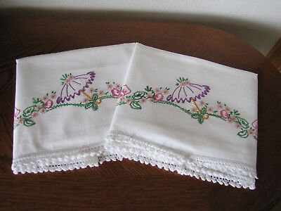 Vintage Pair of Pillowcases Embroidered & Crocheted Scrolling Asters & Parasol