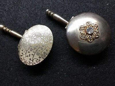 Set Of 2 Vintage Metal Snuff Pill Boxes Hinged With Handles